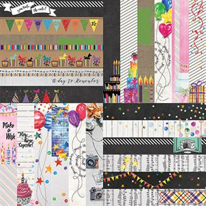 """Picture of Everyday Birthday by Lauren Hinds 2"""" Border Strips - Set 12"""